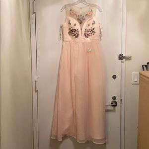 Chi chi London pink floor length flower gown